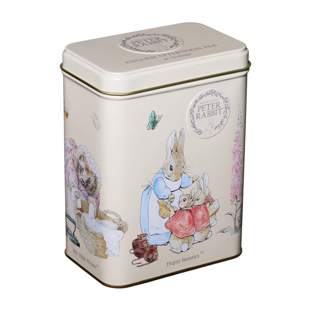 New English Teas Beatrix Potter The Tales of Peter Rabbit Tin with teabags, English Afternoon Tea, 40 count