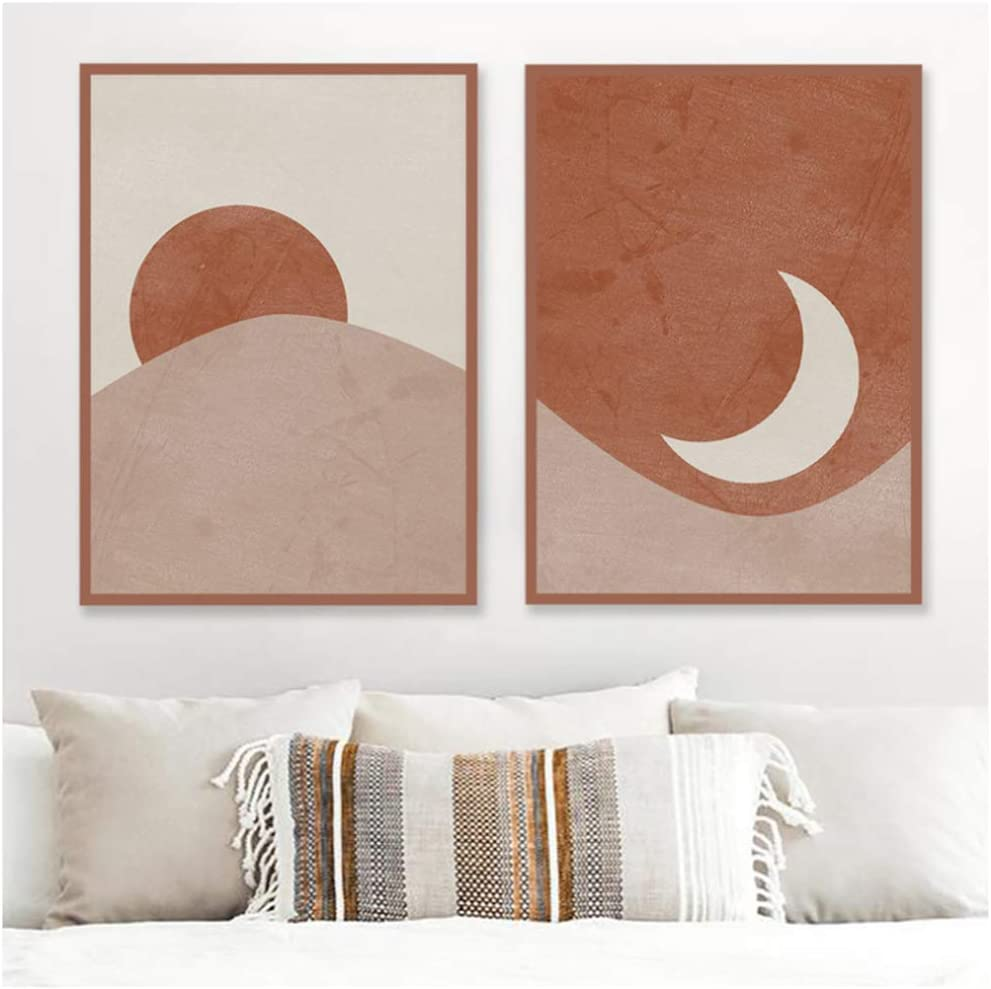 Amazon Com Sun And Moon Abstract Landscape Posters Terracotta Print Mid Century Modern Minimal Wall Art Painting Boho Decor For Home 20x28x2 Pcs In No Frame Posters Prints