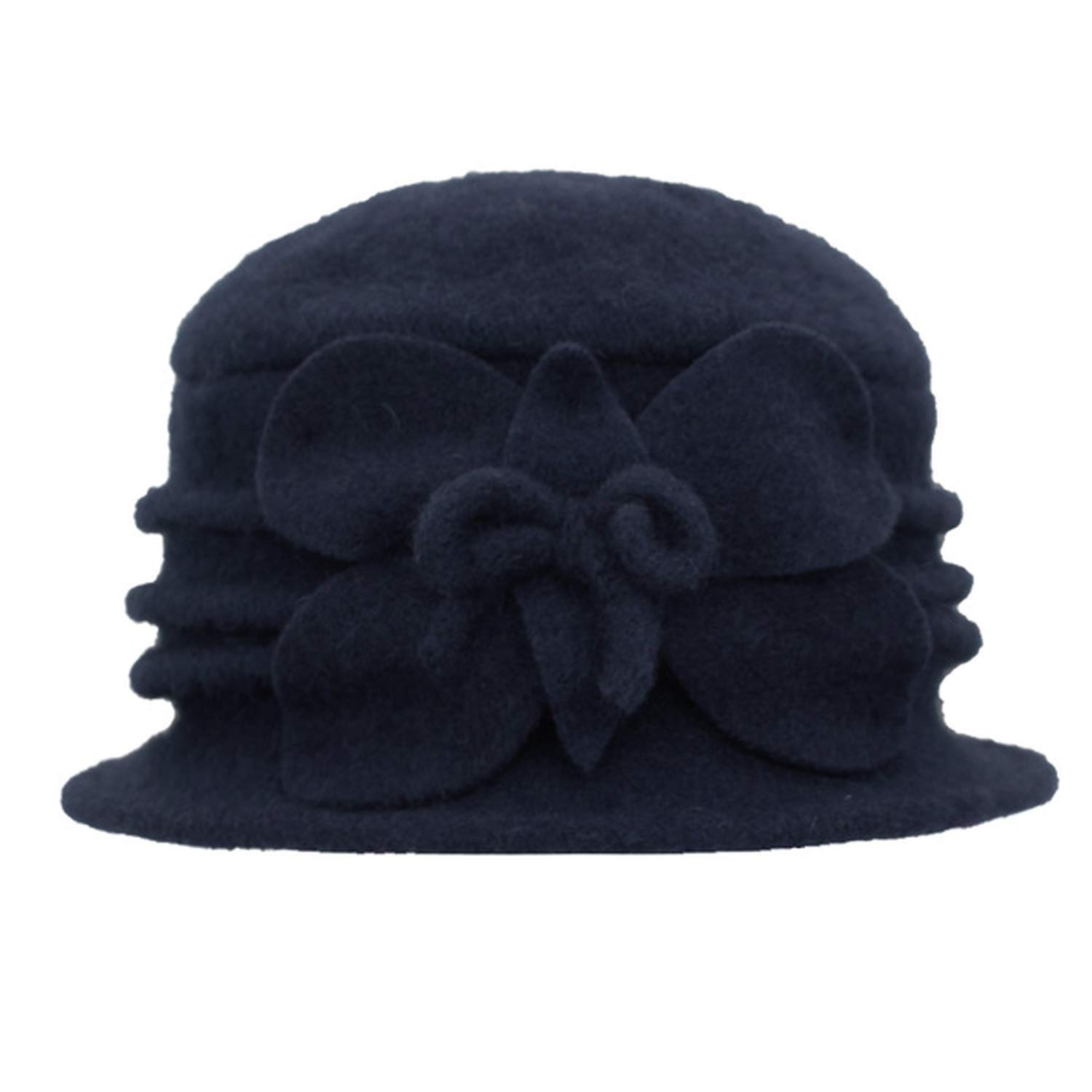DOSOMI Autumn Winter Women Fedoras 100/% Wool Dome Hats Ladies Girl Soft Floral Casual Warm hat