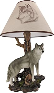 `Denizen of Twilight` Gray Wolf Table Lamp