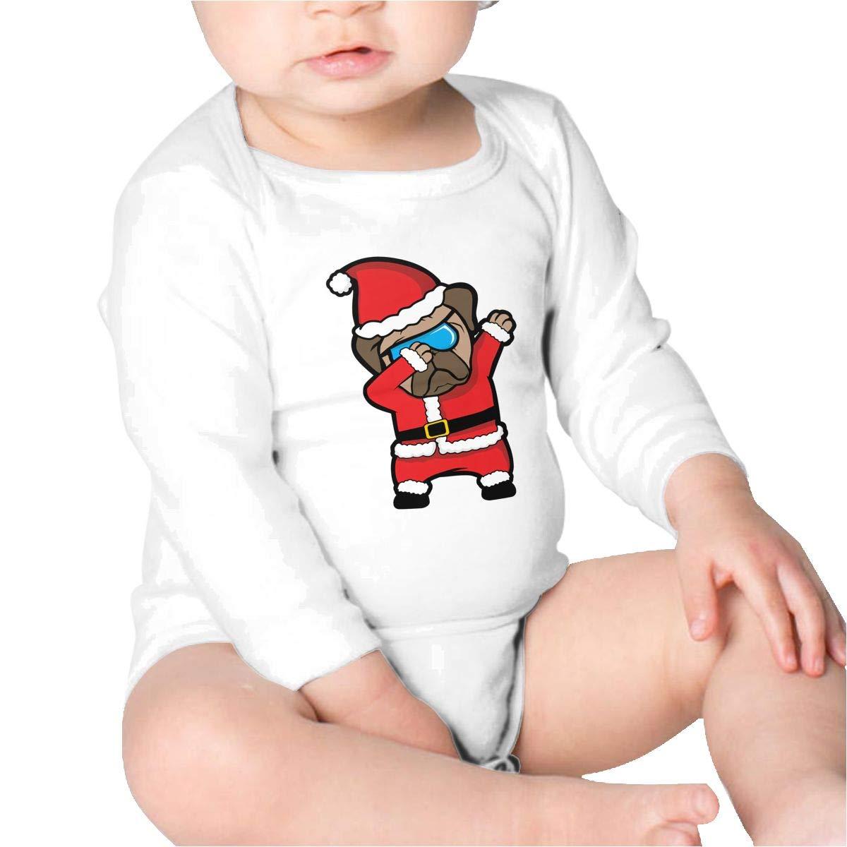Pikaqiuleilei Dabbing Pug Santa Claus Kids Cotton,Long Sleeve Baby Romper