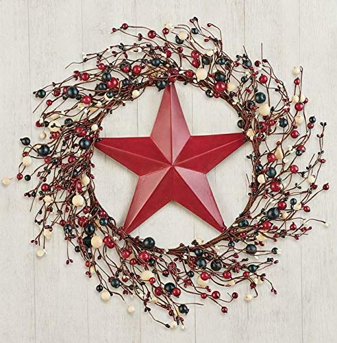 Mikash Patriotic Red White Blue Country Star Berry Wreath w/Hardware 17Dia   Model WRTH - 639