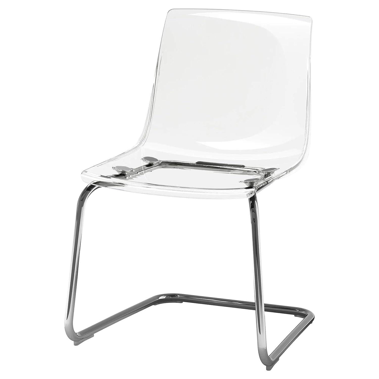 Sencilla y minimalista silla transparente cromada elaborada en policarbonato y acero.
