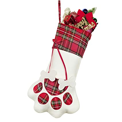 a530d851b6f Image Unavailable. Image not available for. Color  Christmas Stockings for  Pet Dog Cat Paw Xmas Stocking Personalized Gift Bag for Family Holiday Home
