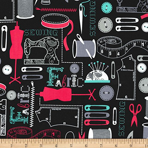 Michael Miller 0565343 Circle Sew It Black Fabric by The Yard ()