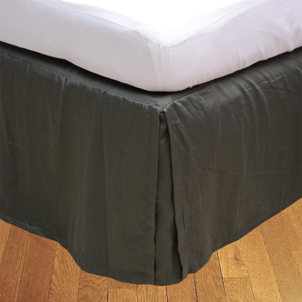Relaxare Short Queen 300TC 100% Egyptian Cotton Elephant Grey Solid 1PCs Box Pleated Bedskirt Solid (Drop Length: 12 inches) - Ultra Soft Breathable Premium Fabric
