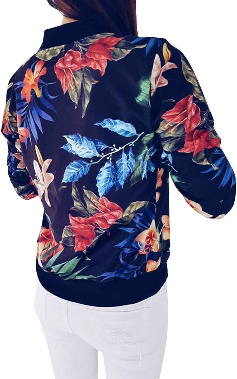 StarTreene Short Baseball Coats for Women Plus Size Floral Print Zip up Bomber Jackets Outwear