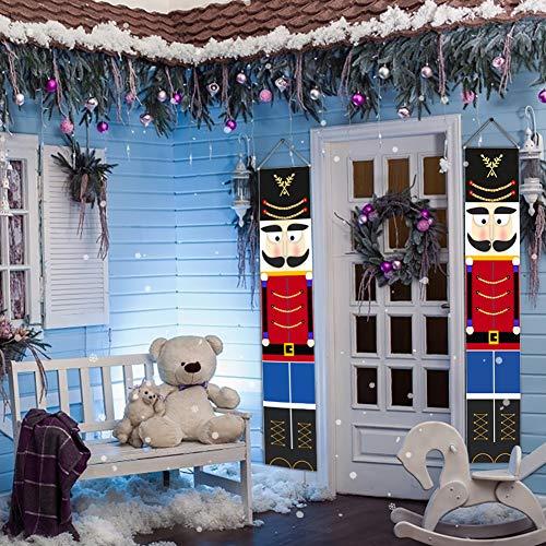 WISREMT Nutcracker Christmas Decorations - Outdoor Xmas Decor - Life Size Soldier Model Nutcracker Banners for Front Door Porch Garden Indoor Exterior Kids Party Yard Gate 32x180cm (A-I Pair)