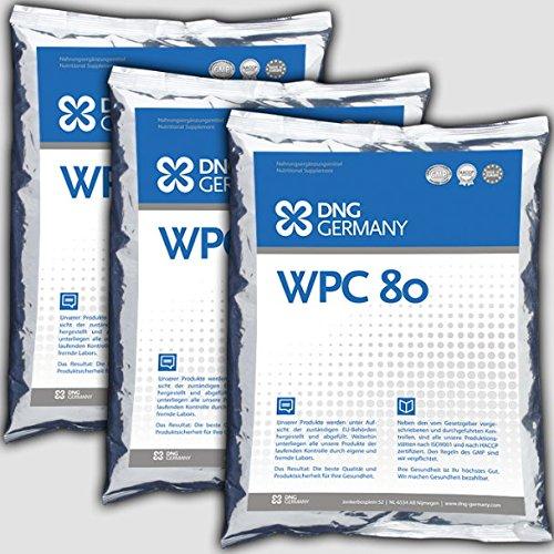 1500g (3x 500g) WPC-80 100% Reines Whey Protein Concentrat - Molkenprotein no Zusätze, Eiweiß - Premium Qualität Neutral! Muskelaufbau