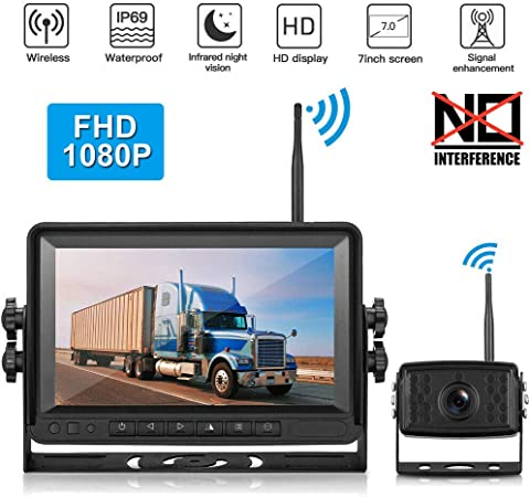 Piroir 1080P FHD Digital Wireless.Backup Camera System Kit.Monitor with Stable Digital Signal Transmission from Rear View Camera.Monitor Rear View Camera for Truck, Van, Camping Car, SUV