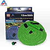 Garden Hose, Expandable Hose,50 Feet Expandable , 8-pattern Sprayer Nozzle, Rust-free, Watering Hose, Flexible Hose, Easy Home Storage , with Brass Connector and Spray Nozzle by Auto Safety (Green
