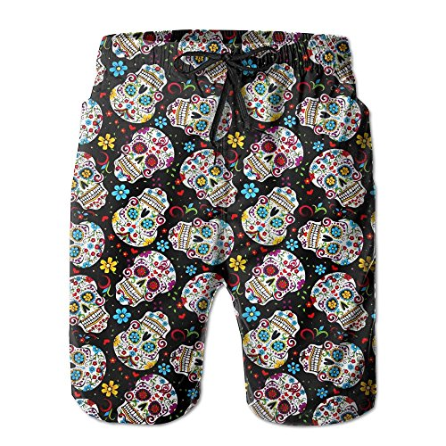 Sugar Skulls Men's Casual Shorts Swim Trunks Fit Performance Quick Dry Boardshorts by SNM HILL
