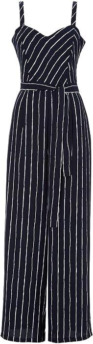 799bbb798702 Roman Originals Women s Blue Pinstripe Sweetheart Neck Jumpsuit - Navy 10  at Amazon Women s Clothing store