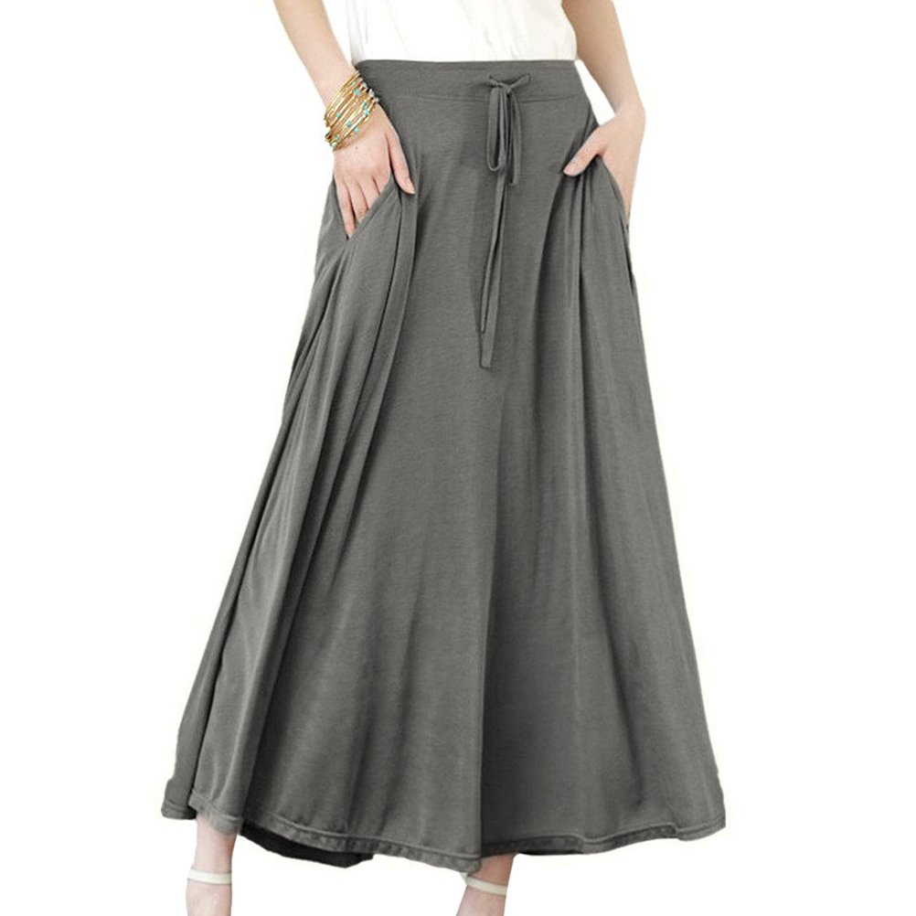 Ezcosplay Modal Cotton Solid Colour Long Elastic Waist Soft Midi Skirt for Women