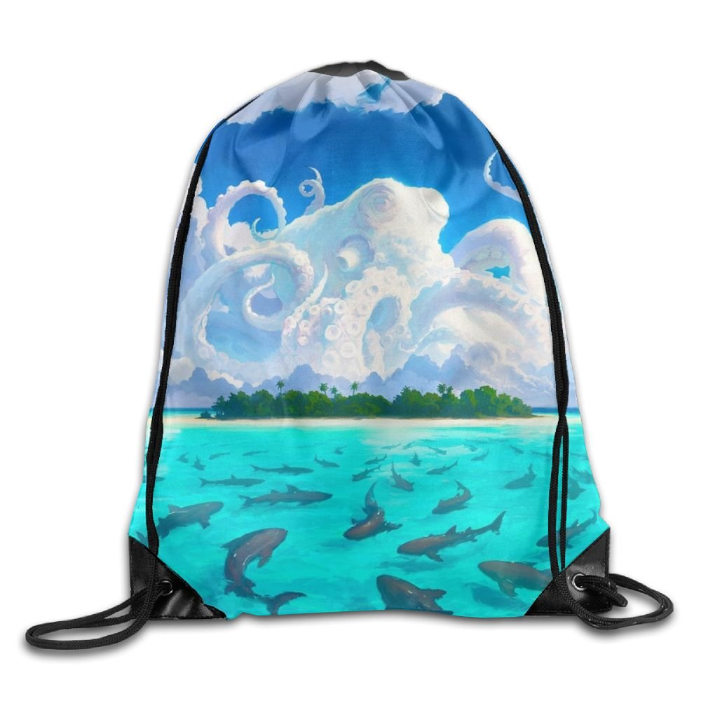 Kraken Drawstring Backpack Rucksack Shoulder Bags Training Gym Sack For Man And Women