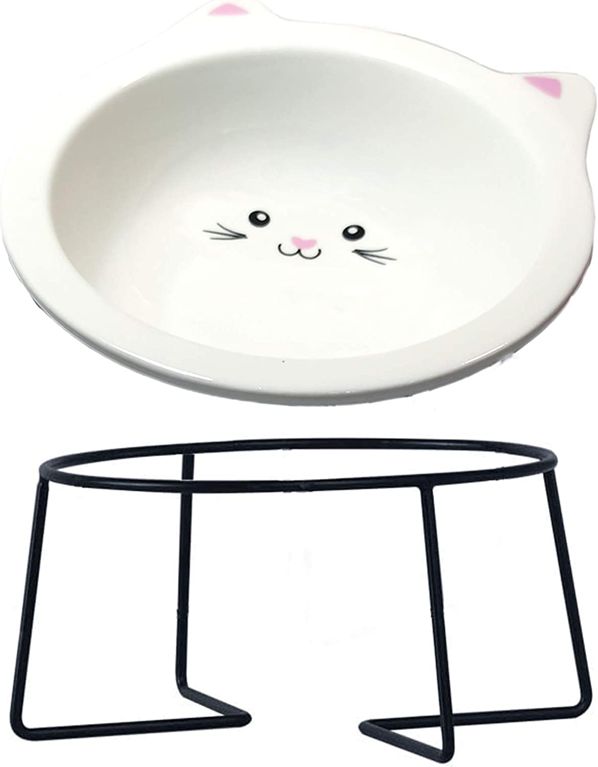 Cat Bowl,Raised Cat Food Bowls Anti Vomiting,Tilted Elevated Cat Bowl,Ceramic Pet Food Bowl for Flat-Faced Cats,Small Dogs,Protect Pet's Spine,Dishwasher Safe