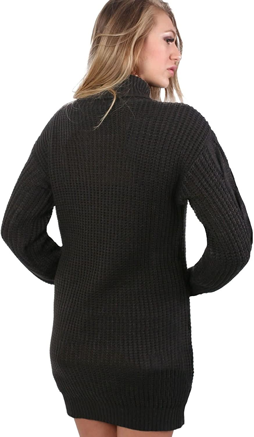 Pilot Womens Cable Knit Long Sleeve/ Roll Neck Sweater Dress