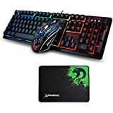 FELiCON® Gaming Keyboard Mouse Sets K-13 104 Keys Rainbow LED Breathing Light Ergonomic Gamer Keyboard Waterproof + Wired 2400DPI 4 Buttons Backlit Usb Optical Game Mouse + Mouse pad For PC Laptop / Computer (Black)