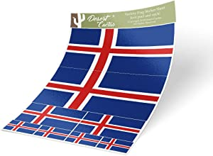 Iceland Country Flag Sticker Decal Variety Size Pack 8 Total Pieces Kids Logo Scrapbook Car Vinyl Window Bumper Laptop Icelandic V