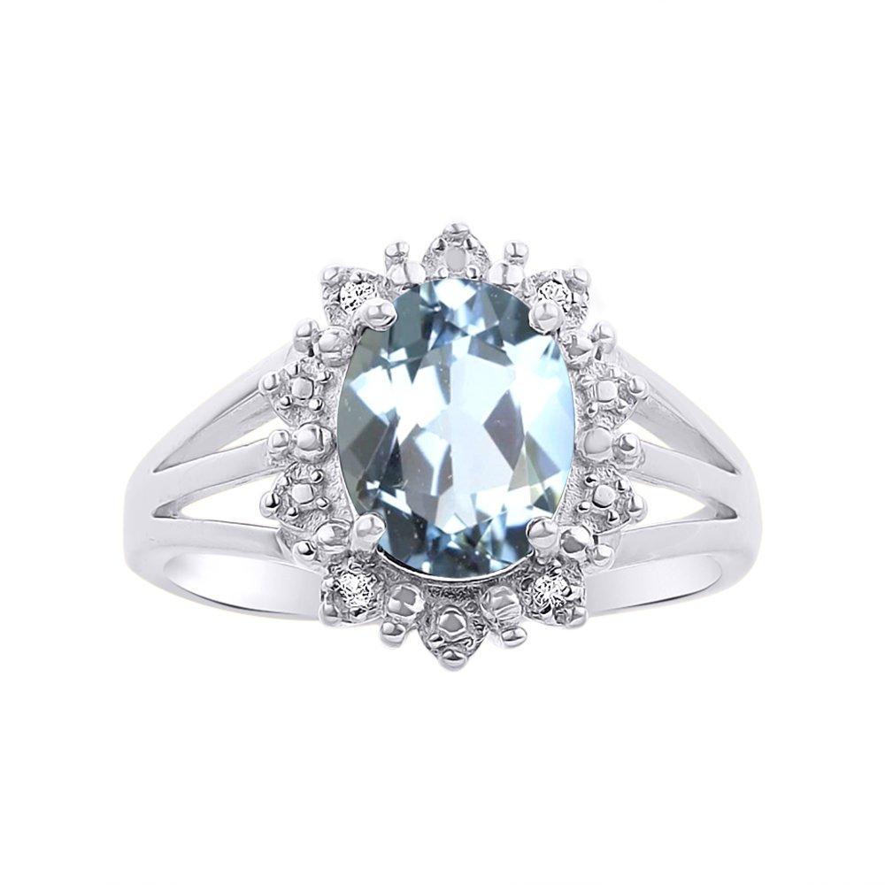 Princess Diana Inspired Halo Diamond & Aquamarine Ring Set In 14K White Gold