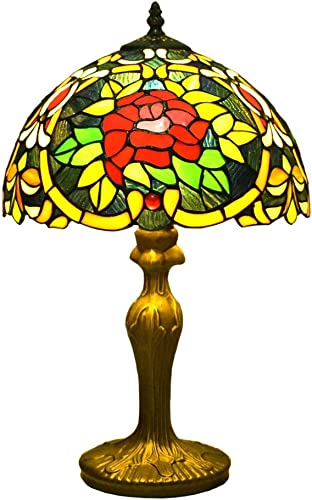 Tiffany Style Lamps Blue Floral Table Desk Light 18 Inches Tall Stained Glass 12 Inches Wide Lamp Shade Vintage Antique Accent Lamp for Living Bedside Coffee Room College Dorm