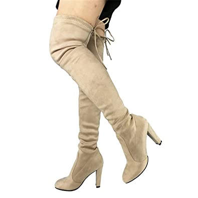 82ce249d494 Dormery Top Faux Suede Women Thigh High Boots Stretch Slim Sexy Fashion Over  The Knee Boots