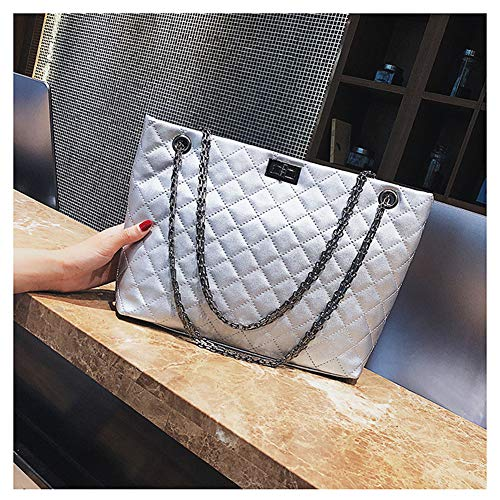 Shoulder Capactity Hobo Handbags Badiya Women's Quilted Chic Silver Tote Large Bag Chain w1q1az