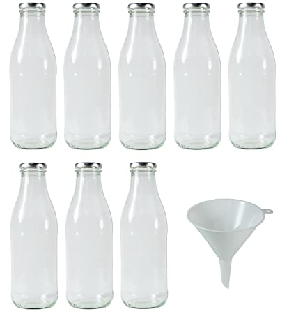Viva Haushaltswaren Botellas de cristal (/Botellas de leche 250 ml con rosca plateadas –