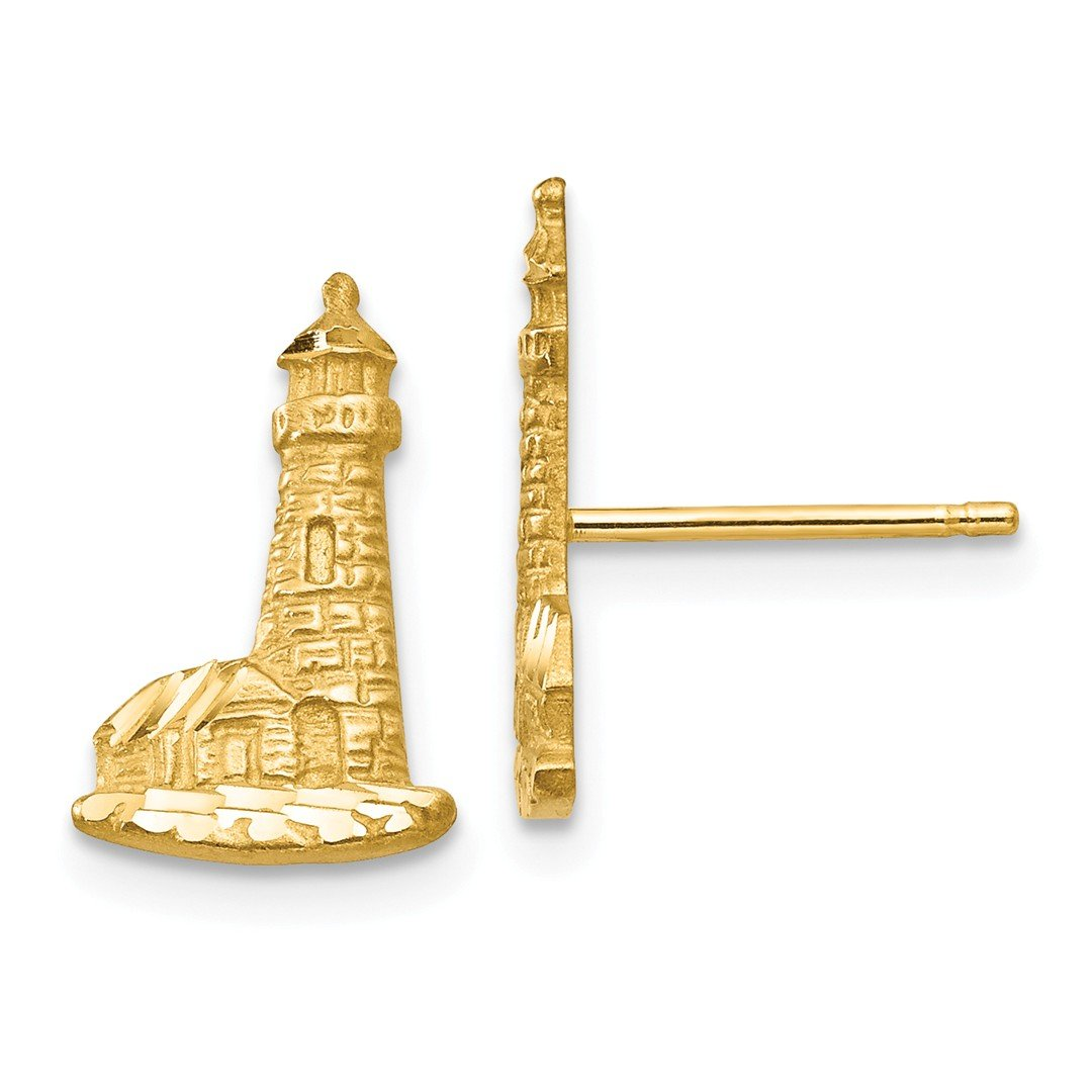ICE CARATS 14k Yellow Gold Lighthouse Post Stud Ball Button Earrings Travel Fine Jewelry Gift Set For Women Heart