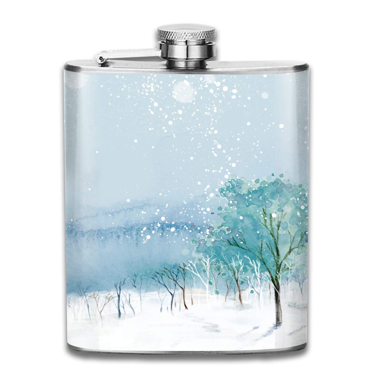 Snow Blue Sky Tree 3D Print Hip Bottle 7oz Portable Pocket Bottle Bag Bottle Camping Stainless Steel Wine Bottle Suitable Unisex
