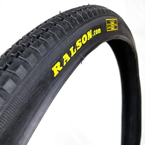 OldNewBikes Juego de Cubiertas Negras con Logo Ralson (2 Unidades) para Bicicleta clásica, Medidas 26x1,1/2