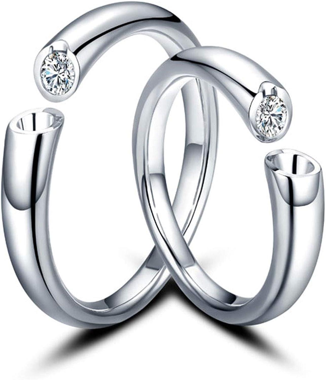 AnazoZ Anillos 2PCS Anillos de Oro 18 Kilates Hombre Mujer Anillos Abierto Diamante Blanco 0.1ct Plata
