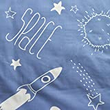 Brandream Boys Galaxy Space Bedding 100% Cotton Twin fitted sheet 1-Piece