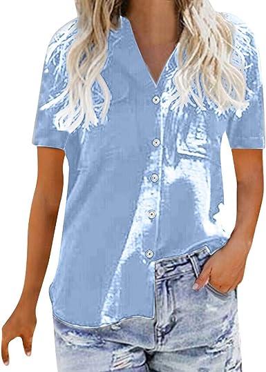 Wtouhe - Botón Suelto de Las Mujeres Camisa Larga Vestido de algodón señoras Camisa Casual Camiseta Camiseta - para Mujer: Amazon.es: Ropa y accesorios