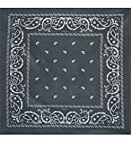 Bandanas By The Dozen 100% Cotton 12-Pack 22'' x 22'' - Paisley Charcoal