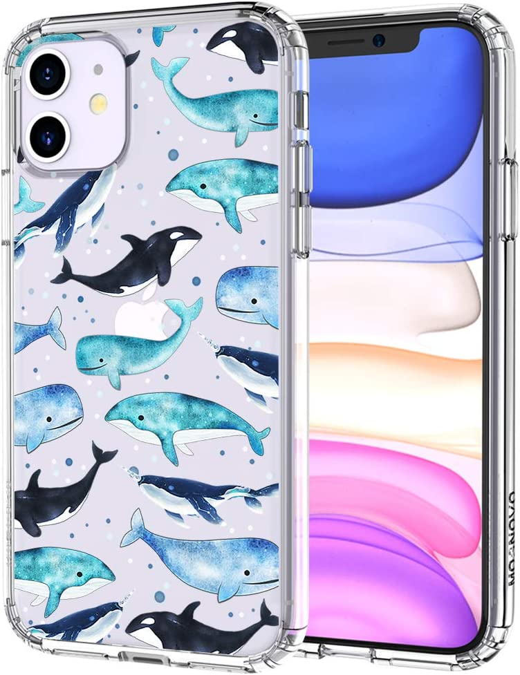 MOSNOVO Whale Pattern Designed for iPhone 11 Case,Clear Case with Design,TPU Bumper with Protective Hard Case Cover