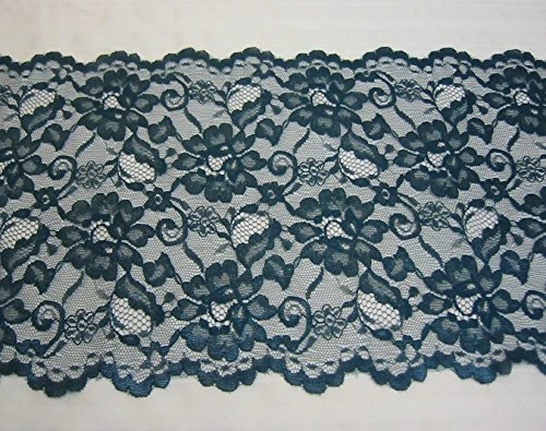 Craft Doll Trim (Very pretty Fabric Beautiful Designed Dark Teal Double Scallop Lace 9 1/2