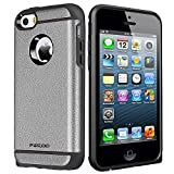 iPhone SE Case,High Impact Heavy Duty Armor Hybrid Dual Layer Hard PC Outer Shell and Soft TPU Inner Defender Bumper Protective Case for Apple iPhone 5 5S SE (Gray)