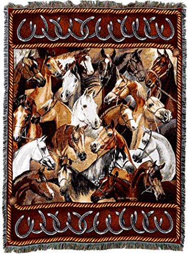 Pure Country Weavers | Bridled Horses Woven Tapestry Throw Blanket with Fringe Cotton USA 72x54