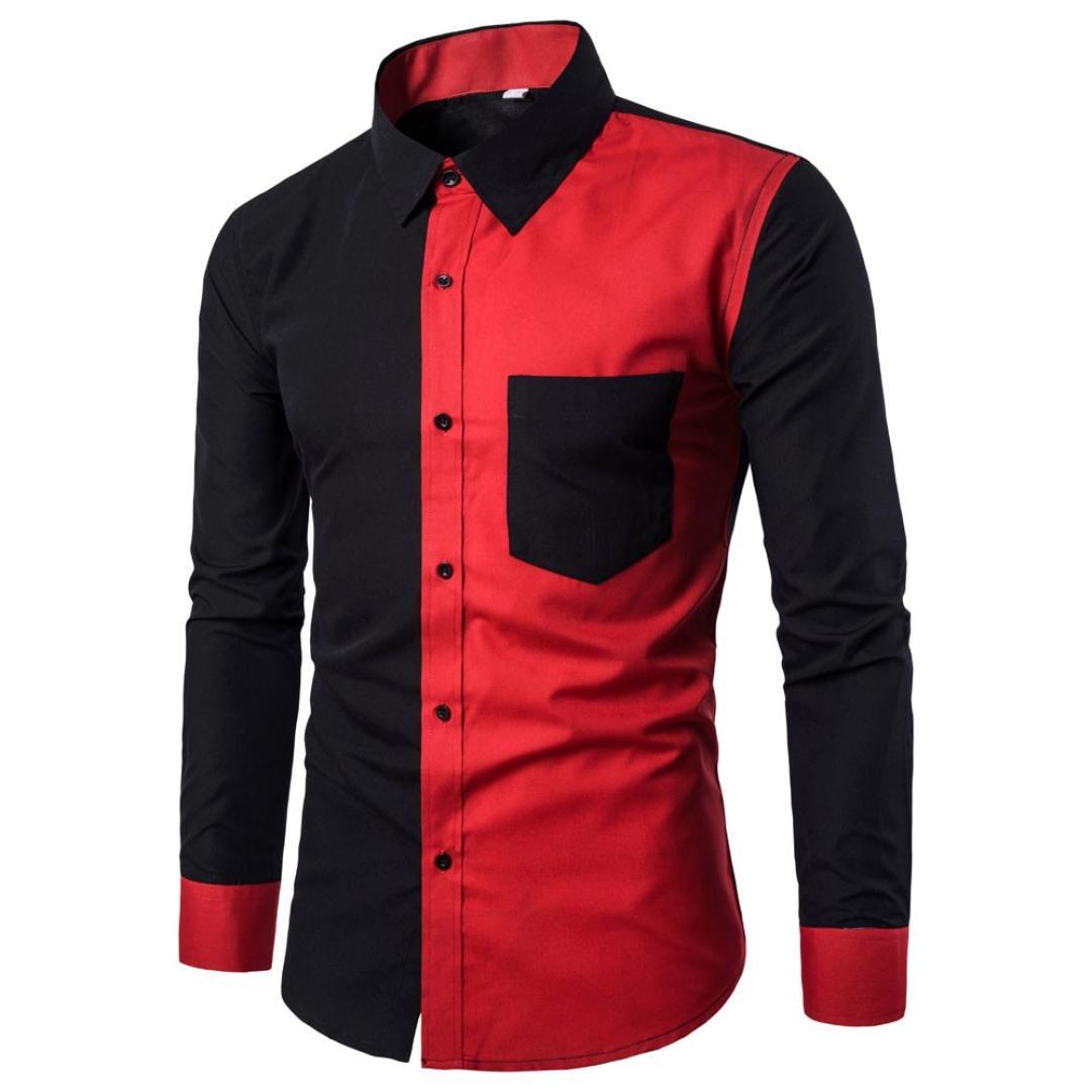 WM & MW Novelty Mens Shirt Long Sleeve Casual Pocket Button Red and Black Patchwork Shirt Slim Fit Stylish Dress Shirts Turndown Collar Tops (M=(US:S), Black)
