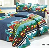 queen sheets cars - Brandream Kids Bedding Set Boys Train Vehicle Thin Comforter Set,twin,queen