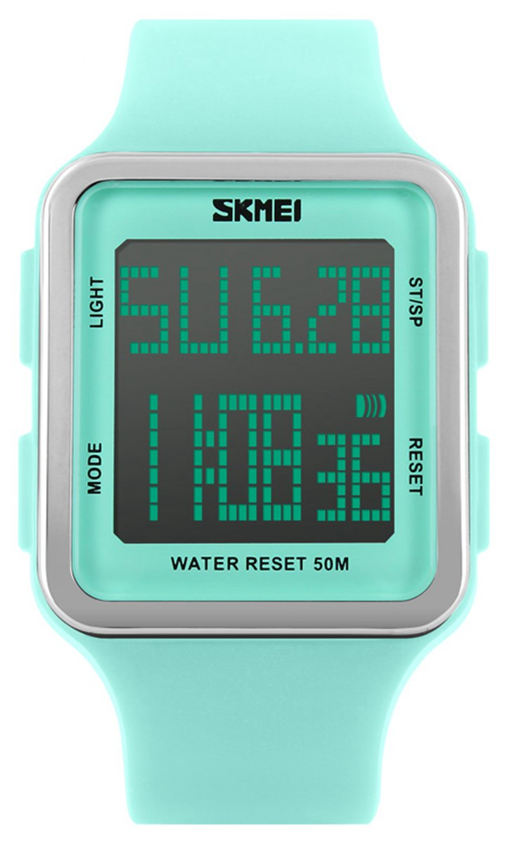 Digital Sport Watch Water Resistant Outdoor Electronic Big Face Silicone Teen Girls Women's Light Green SK1139A by SNE