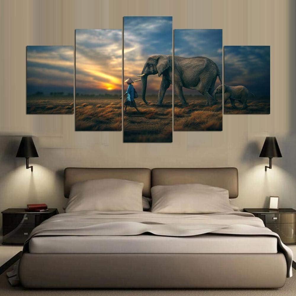 XCSMWJA Los Elefantes Y Los Niños Sin Enmarcar Pintura En Tela, Arte Póster Lienzo para Impresión Salón Posters Y Láminas De Arte Pinturas En La Decoración del Hogar D