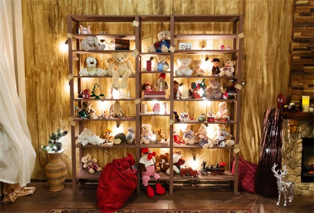AOFOTO 7x5フィート クリスマスストア 背景 ぬいぐるみ サンタクロース ギフトバッグ ヘラジカ 暖炉カーテン 木製 壁 床 写真 背景 部屋 インテリア デコレーション 子供 写真ブース 小道具   B07KV9BNM6