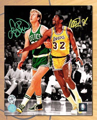 f8d3ae1c873c2 Magic Johnson & Larry Bird Dual Autographed Lakers vs Celtics ...