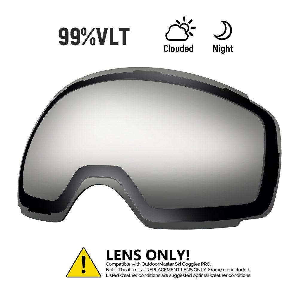 OutdoorMaster Ski Goggles PRO Replacement Lens - 20+ Different Colors ( VLT 99% Clear Lens with Free Carrying Pouch ) by OutdoorMaster
