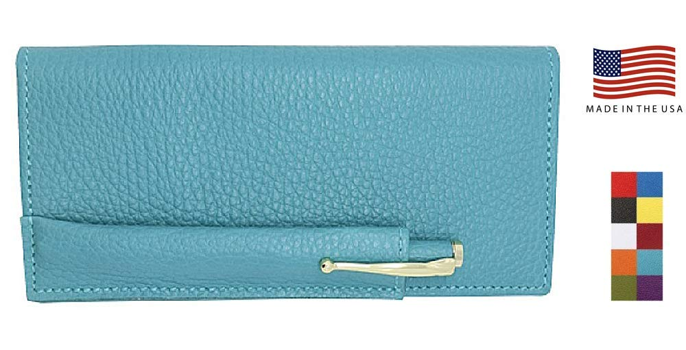 Teal Colorado Collection Genuine Leather Checkbook Cover with Matching Leather Hand-wrapped Gold Pen – Gift Box - Factory Direct – Made in USA by Real Leather Creations FBA649