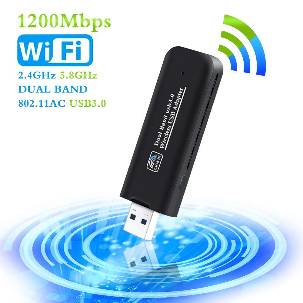 PiAEK USB WiFi Adaptateur 1200Mbps USB3.0 Clé WiFi Dongle Mini Wireless Adaptateur Dual Band 2.4 G/5.8 G 802.11 AC Compatible avec Windows 7/8/8.1/10/Vista/Linux/Mac OS product image