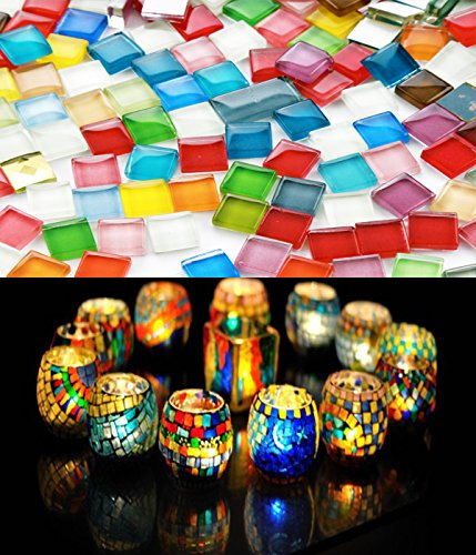 Fyess 400 Pieces Assorted Colors Mosaic Tiles Crystal Mosaic for Home Decoration Crafts Supply ()