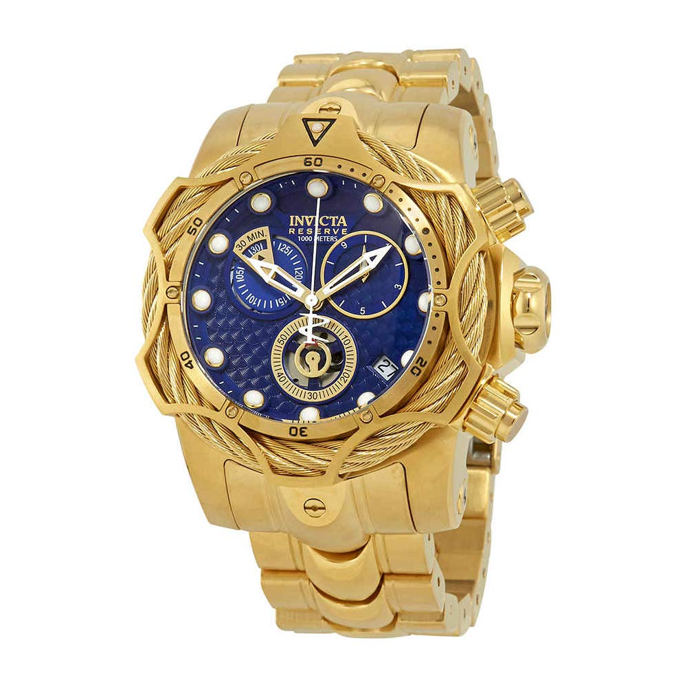 40a20314a Amazon.com: Invicta Reserve Blue Dial Men's Gold-Tone Chronograph Watch  27701: Watches